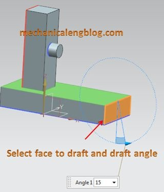 create a draft from a face select face to draft and draft angle