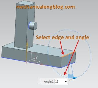 create a draft from edges select stationary edge and draft angle