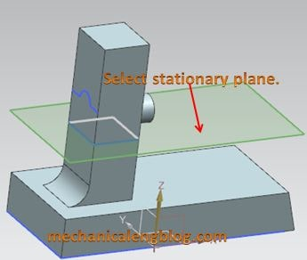 create a draft to parting edges select stationary plane