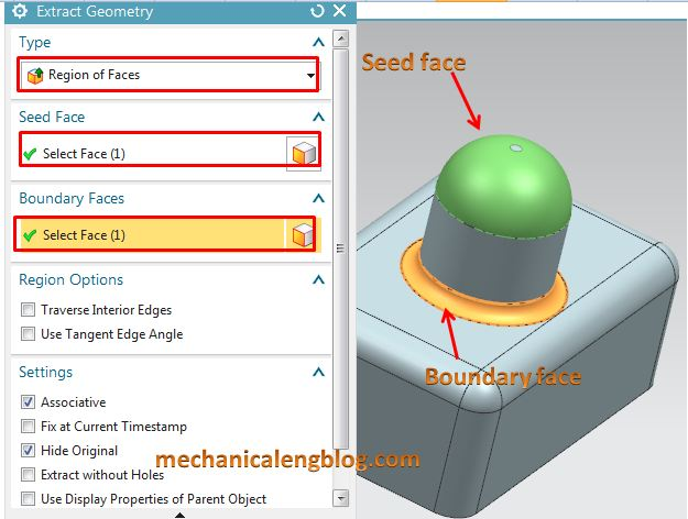 siemens nx modeling extract geometry select seed face and boundary face