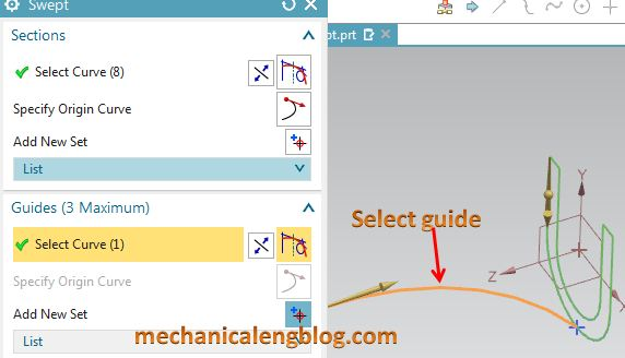 siemens nx modeling swept select guide