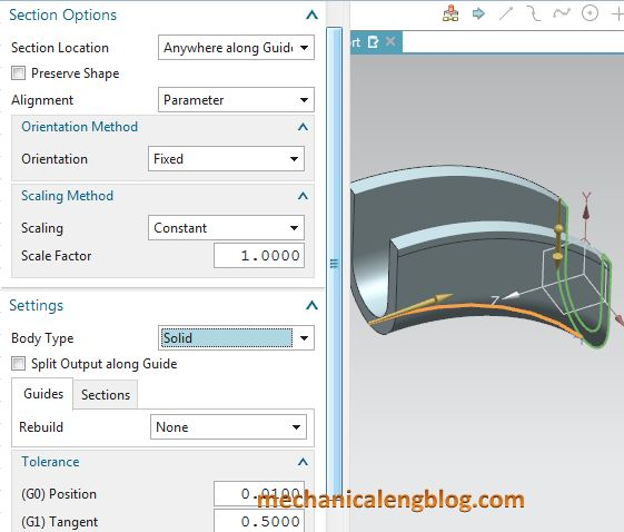 siemens nx modeling swept select options