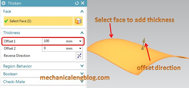siemens nx modeling thicken select face
