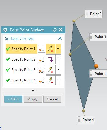 siemens nx surface four point surface command
