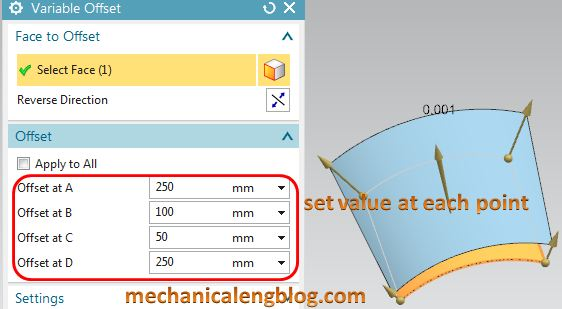 siemens nx surface variable offset set value for each point