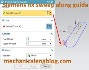 siemens nx sweep along guide select section
