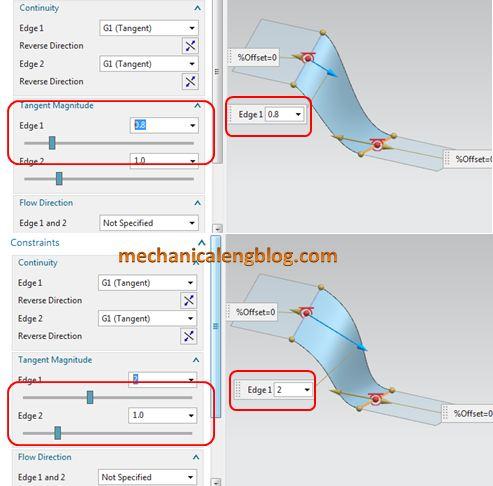 siemens nx tutorial bridge surface tangent magnitude