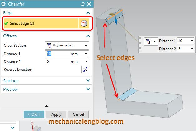 siemens nx tutorial chamfer select edges