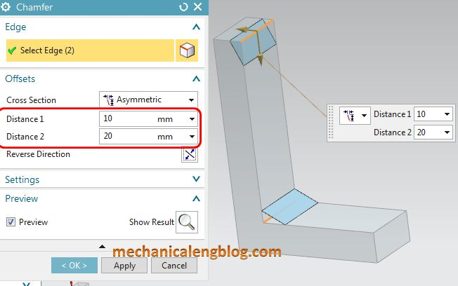 siemens nx tutorial chamfer set value of distance