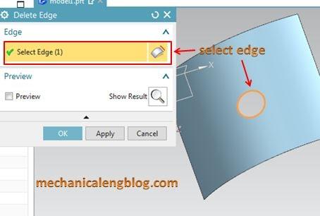 siemens nx tutorial delete edge select edge