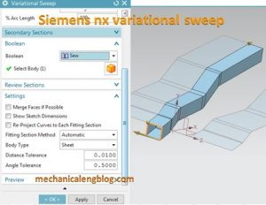 siemens nx variational sweep sweep a section along a path