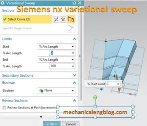 siemens nx variational sweep sweep a section along two path