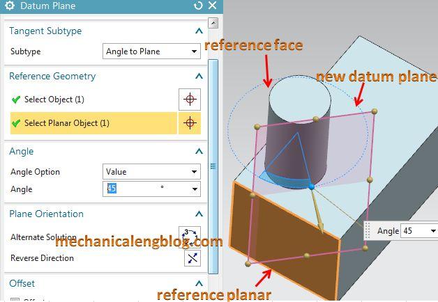 Create a datum plane by tangent option