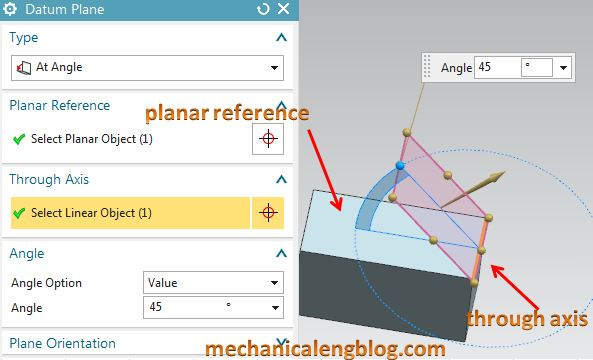create a datum plane by at angle option