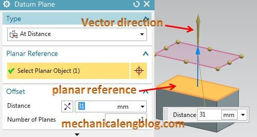 create a datum plane by at distance option