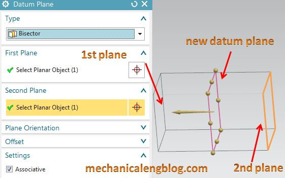 create a datum plane by bisector