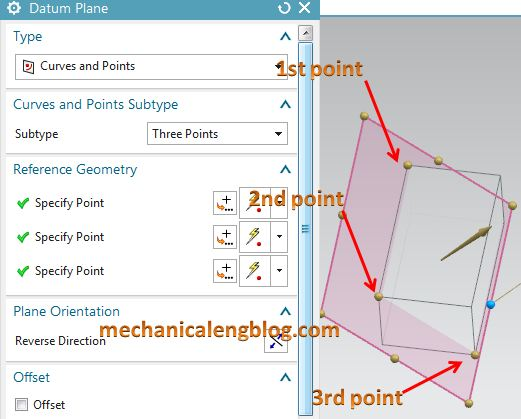 create a datum plane by curves and points