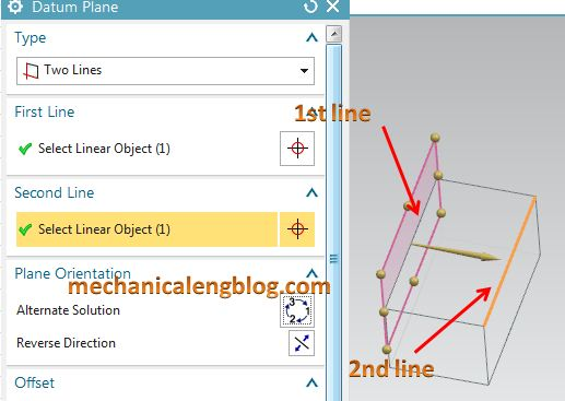 create a datum plane by two lines
