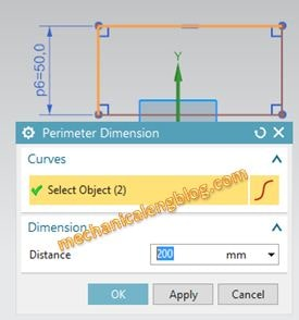 create perimeter dimension in nx