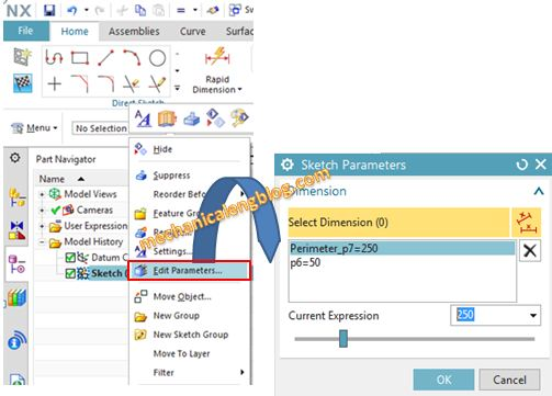 edit perimeter dimension by sketch parameters