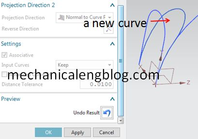 siemens nx derived curve combined projection result