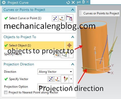 siemens nx project curve select objects project