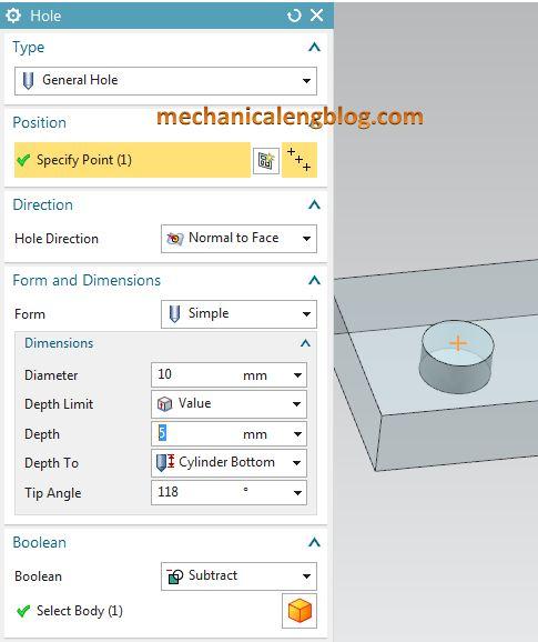 Create a general hole in nx