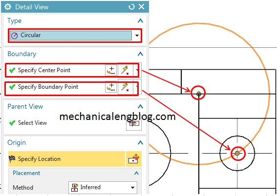 detail views with circular boundaries select center and boundary point