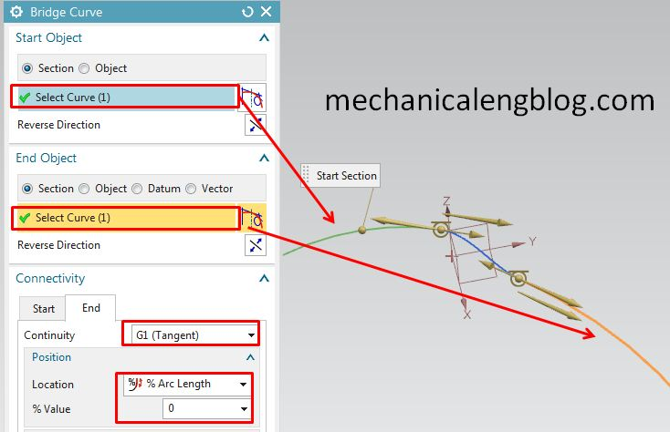 siemens nx modeling bridge curve select object