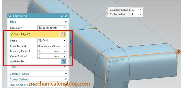 siemens nx modeling create a conic edge blend