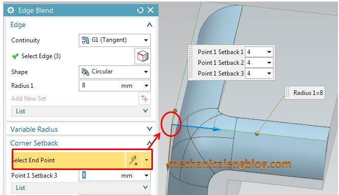 siemens nx modeling create an edge blend with corner setback