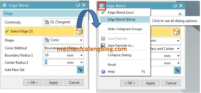siemens nx modeling edge blend see all dialog options