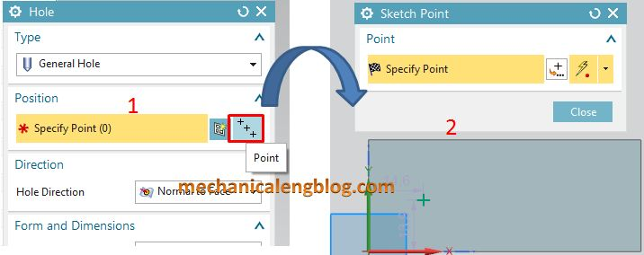 siemens nx modeling hole command make position point by point option