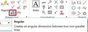 Angular dimension icon
