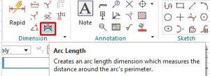 Arc length dimension icon