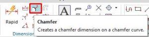 Chamfer dimension icon