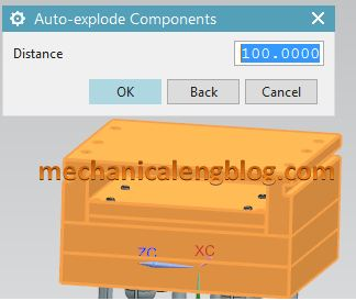 nx assembly auto explode components distance