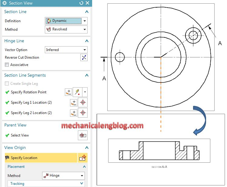 nx drafting creating a revolved section view