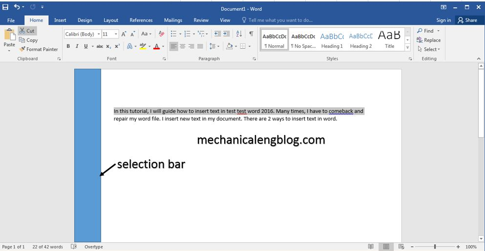 Select text in word 2016 by selection bar