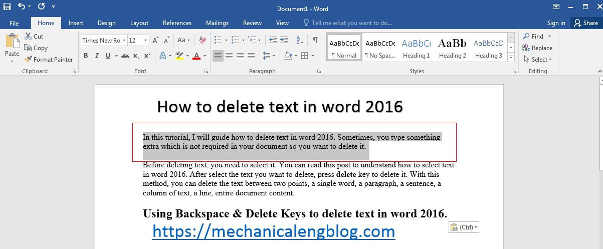 how to delete text in word 2016