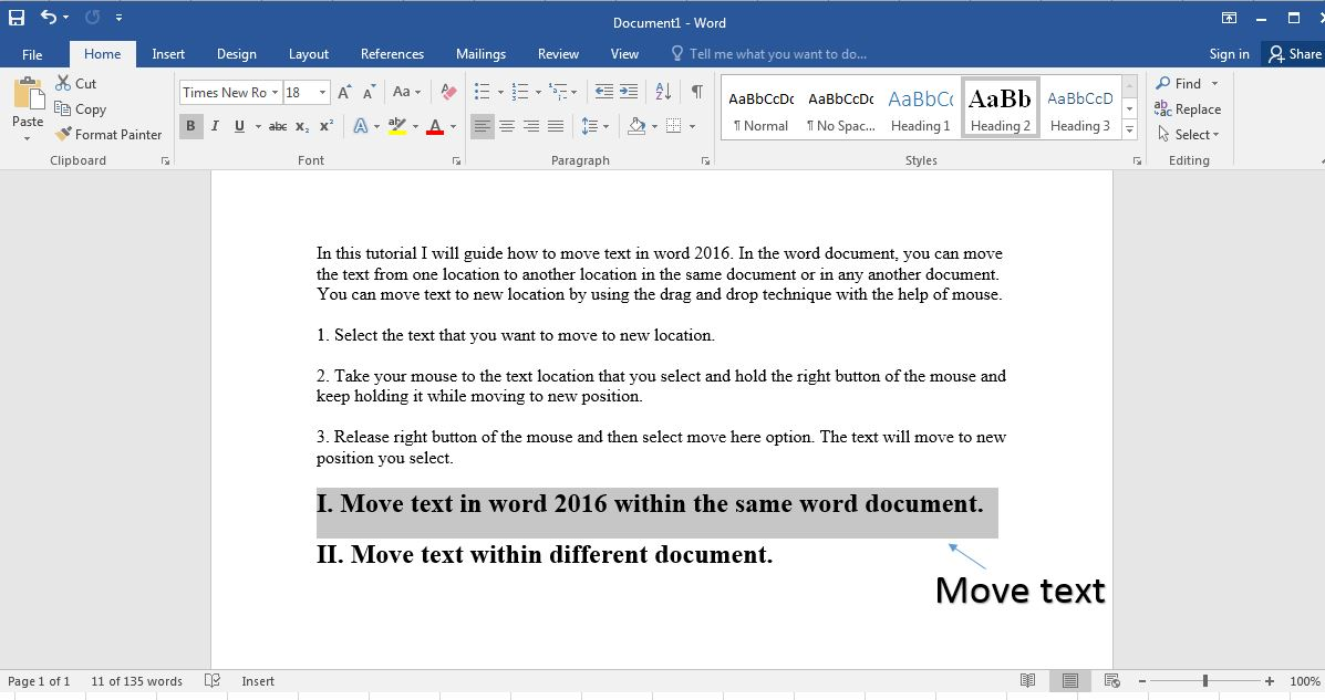 move text in word 2016