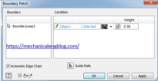 Autodesk inventor boundary patch command dialog