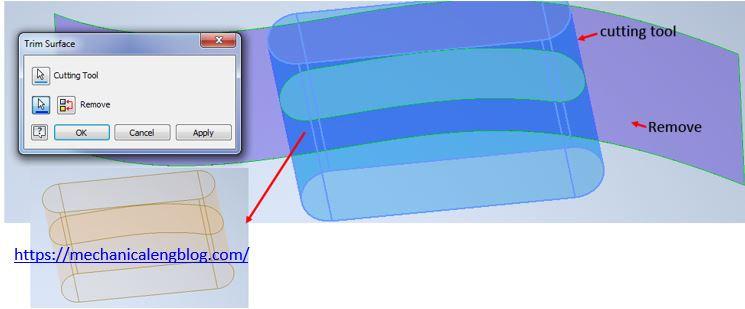 Use invendor trim surface command