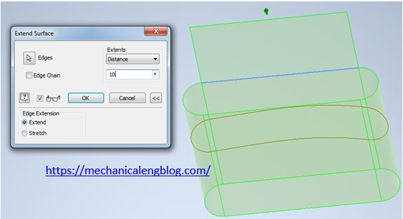 Use inventor extend surface command