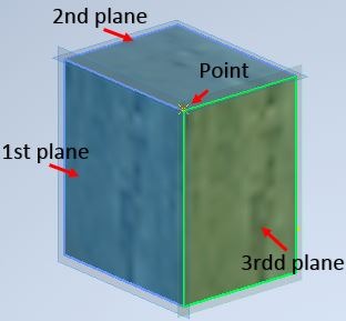 autodesk inventor create new point at intersection of three plane