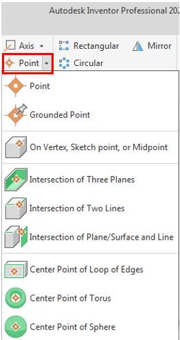 autodesk inventor point command icon