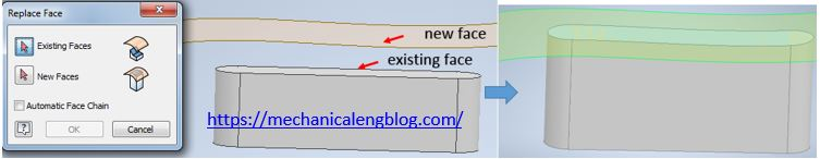 autodesk inventor use replace face command