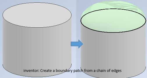 inventor create a boundary patch from a chain of edges