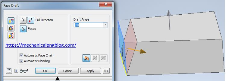 inventor create a fixed edge or fixed plane face draft
