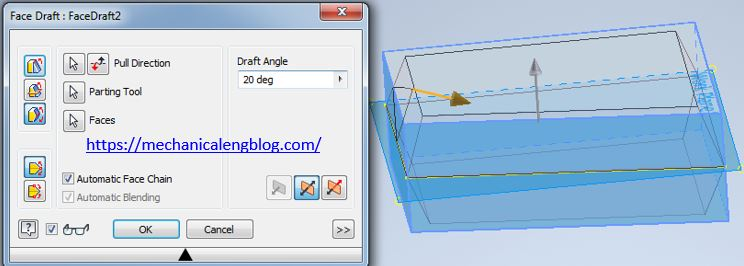 inventor create a parting line face draft